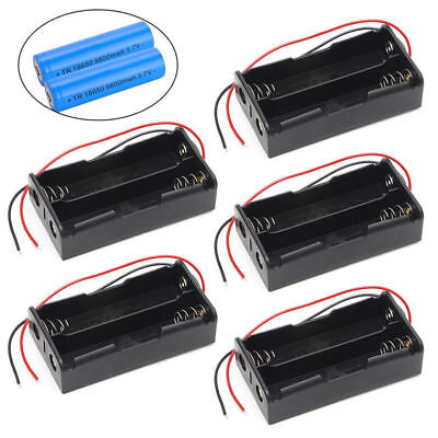 5 Pcs 2x18650 Rechargeable Battery 3.7v Clip Holder Box Case With Wire Lead