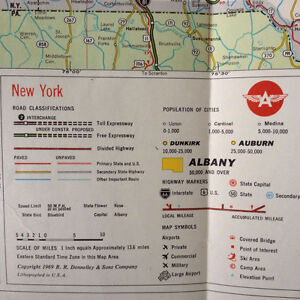 """Getty Oil Co. Flying """"A"""" 1969 New York State. N.Y.C. Road Map West Island Greater Montréal image 3"""