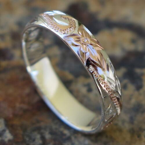 Hawaiian Silver Pink Gold Flower Scroll Jewelry Wedding