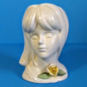 Vintage 1960's All White Teen Lady Head Vase.