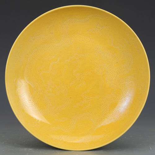 Beautiful Chinese Porcelain Lemon Yellow Glaze Hand Carved Dragons Plate Mark