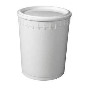3 Gallon (11.4L) White plastic containers with lids