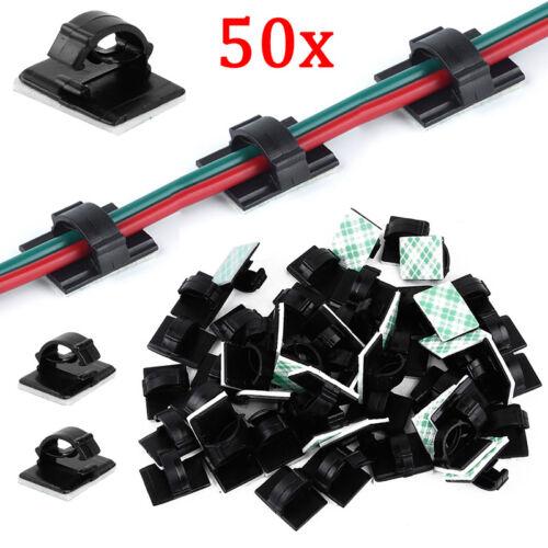 50 x Kabelhalter Klebesockel für Kabelbinder Kabelclip Kabelklemme selbstklebend