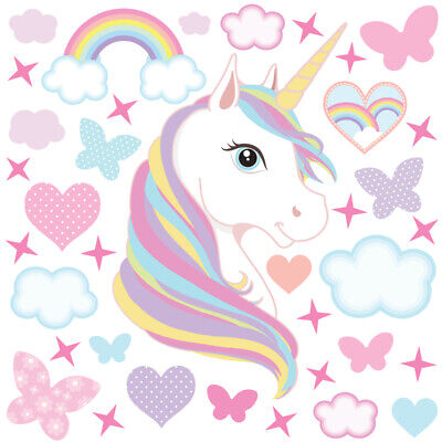 Unicorn wall stickers large kids girls rainbow pink bedroom decals unic04