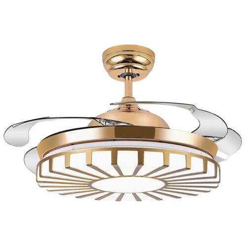 """Modern 42"""" Gold Invisible Ceiling Fan Light Remote Control C"""