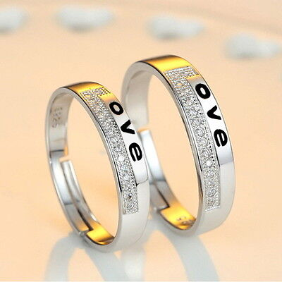 Best Lover`s gift promise Wedding band 925 sterling silver CZ Love Couple (Silver Best Couple Rings)