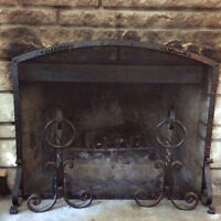 Antique Vintage Cast Iron Fireplace Andirons And Screen