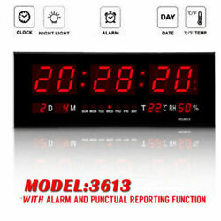 Digital Large Big Jumbo LED Wall Desk Alarm Clock Calendar Temperature Display