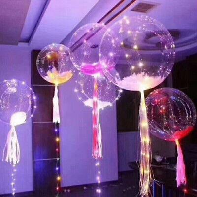 lumineux DEL ballon Transparent Rond Bulle Fête Datation Mariage Decor 20 in environ 50.80 cm