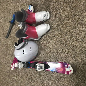 Children's skis, helmet and boots for sale GIRLS