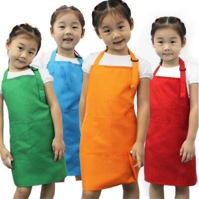 US Plain Apron Front Pocket Bib Kitchen Cooking Craft Baking Art Jamming Kids Childrens Craft Apron
