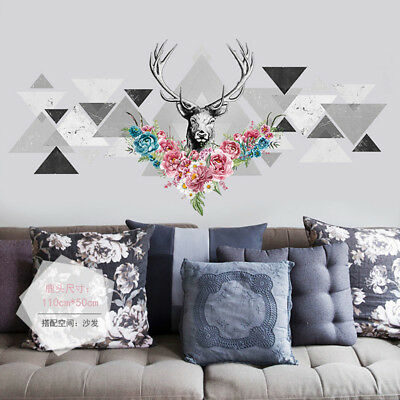 Flower Deer (Deer Head Flower Wall Sticker Tringle Decals Vinyl Home Room Decoration)