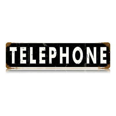 "Vintage Style Retro Old Telephone Booth Steel Metal Sign 20"" x 5"""
