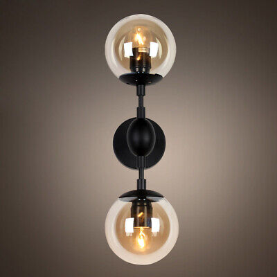 Retro 2-Light Glass Globe Shade Wall Lamp Sconce Black Metal