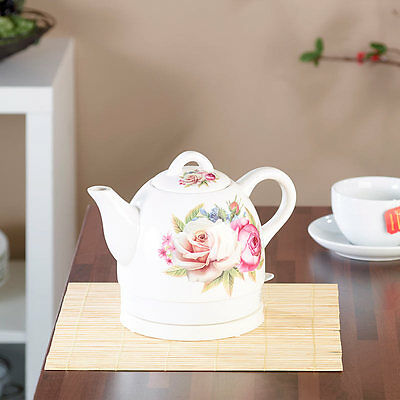 Keramik-Wasserkocher mit Blumenmuster 1.500 Watt 1,7 Liter Teekanne