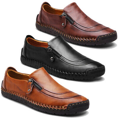 Menico Men Hand Stitching Zipper Slip-ons Leather Shoes Casual Loafers Moccasin ()