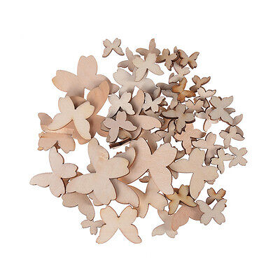 50pcs Wooden Butterfly Unfinished Wood Blank Embellishments Scrapbooking - Wood Butterfly