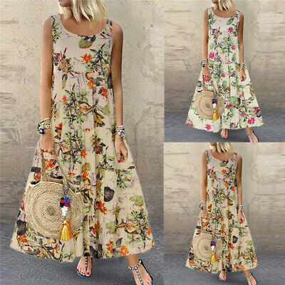Vintage Womens Sleeveless Boho Floral Baggy Casual Maxi Dress Sundress Plus Size