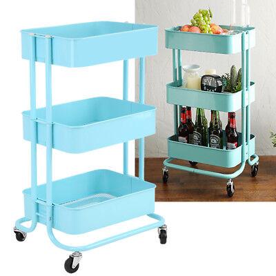Küchenwagen Servierwagen Küchentrolley Rollwagen Badregal Abräumwagen Blau GOOD