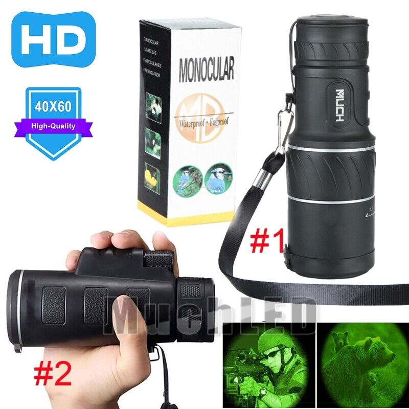 40x60 HD Optical Monocular Telescope Day & Night Vision For Game Camping Hiking