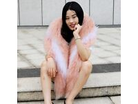 DAYMISFURRY---Pink and White Mongolia Fur Lady Wrap