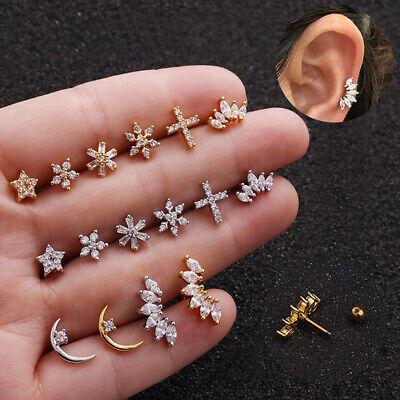 Crystal Bar Barbell Ear Cartilage Tragus Helix Studs Piercing Earrings - Crystal Silver Barbell