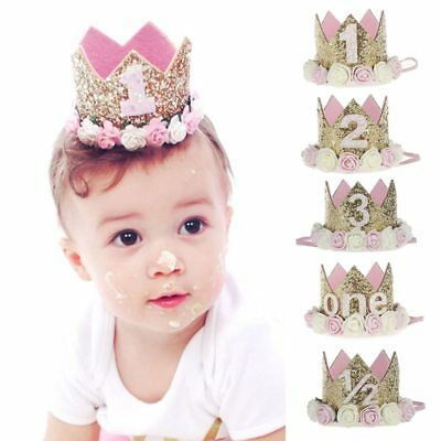 Kids Girl Baby Toddler Flower Crown Headband Hair Band Headwear Birthday Party L - Baby Flower Headband