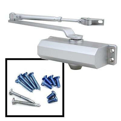 New Size 3 Commercial Door Closer Silver Aluminum Finish Adjustable Latching