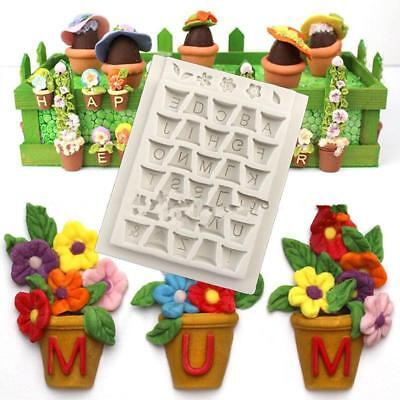 Hot! Silicone Soap Mold Letters Flower Pots For Chocolate Candy Sugar Cake Decor