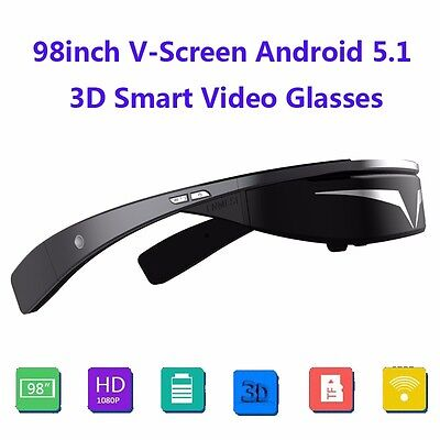 "98"" FHD 1080P Android 5.1 WiFi Touch-Button Ball Opera Browser 3D Video Glasses"