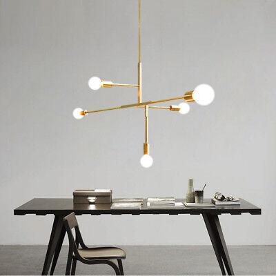Modern 5 Lights Chandeliers Pendant Light Industrial Gold Metal Ceiling Fixtures