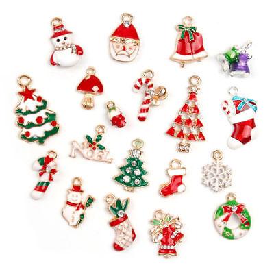 19Pcs//Set Eamel Christmas Tree Santa Claus Bells Reindeer Charms DIY Jewellery