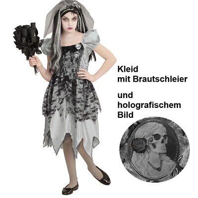 GEISTERBRAUT Kinder Kostüm Gr 158 Kleid mit Brautschleier Halloween Mädchen #468 ()