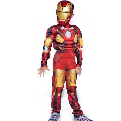 Marvel Avengers Iron Man Muscle Cosplay Halloween Costume Suite & Mask S,M,L w