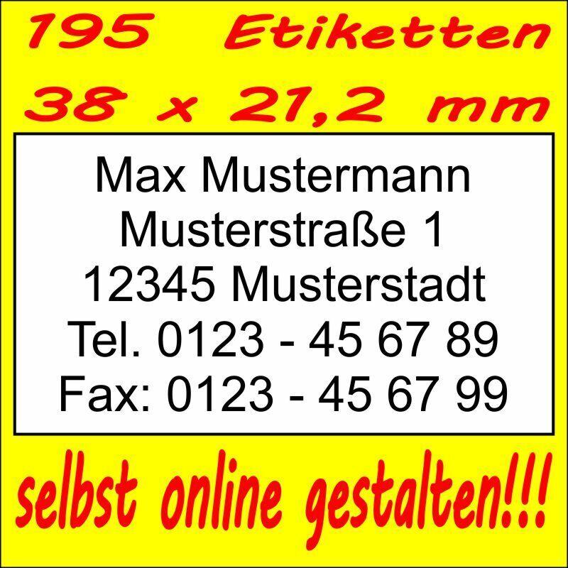 195 Absender Etiketten Adress-Aufkleber Adress-Etikett m. Druck selbst gestalten