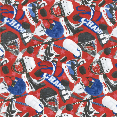 All Star Hockey Fabric by Northcott Equipment On Red Quilt Shop Quality Cotton