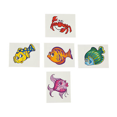 Fish Tattoos  Tropical Angel fishes Crab Temporary Tattoo Pack of 36 Free Post  - Tattoos Of Fish
