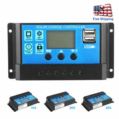 10/20/30A Solar Panel Battery Regulator Charge Dual USB Controller 12V/24V
