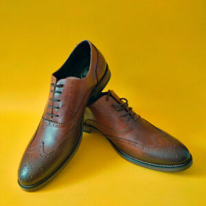 Brown Leather Wingtip Dress Shoes Size 42 Brand New Unworn