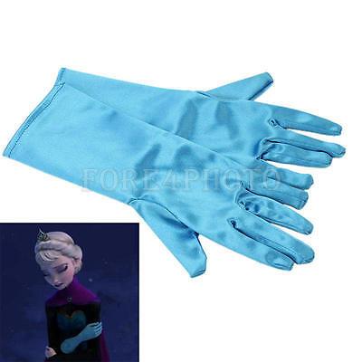 Costumes For Halloween Girl (Girl Gloves Elsa Ice Queen Crown Costume Dress for Cosplay Halloween)