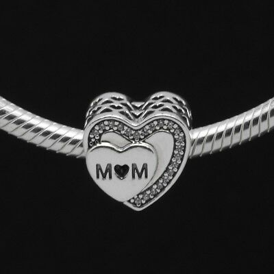 NEW Authentic Pandora Sterling Silver Tribute to Mom Heart Bead Charm 792070CZ
