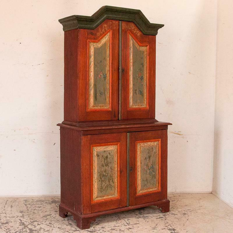 Antique Swedish Original Red and Green Painted Cupboard Cabinet Dated 1775