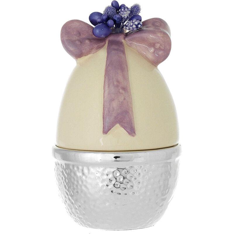 Uovo di pasqua cm 10x6 laminato argento candela all'interno decoro avorio-viola