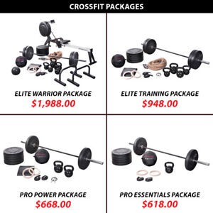 Barbell Weight Olympic Plate Kettlebell Crossfit Package Set
