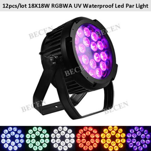 Us Outdoor 18x18w 6in1 Led Par Light Ip65 Rgbwa Uv Led Dj Show Lighting 12pcs