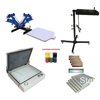 4 Color 1 Station Screen Printing Kit Flash Dryer Vacuum Uv Exposure Squeegee