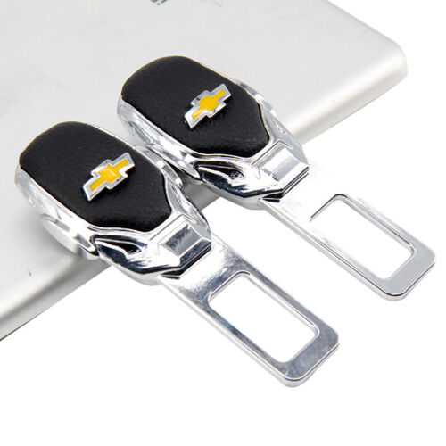 Car Parts - 2 x Car Parts Interior Accessories Safety Seat Belt Plug Clip Logo For Chevrolet