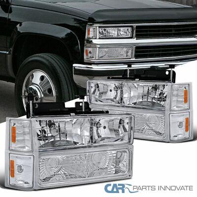 94-98 C10 C/K 1500 2500 3500 Tahoe Suburban Headlights+Bumper Corner Lamps Clear