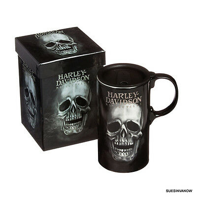 Skull Harley Davidson travel coffee cup 20oz Tall Boy Mug Boxed Motorcycle gift