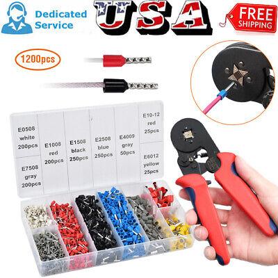 Ferrule Crimper Crimping Plier Tool Kit 1200pcs Wire Terminal Connector Set Qq